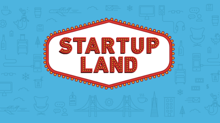 Text Startup Land Written In Blue Background.